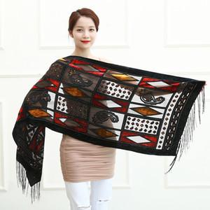 Spain Italy Turkey Hot Geometric Plaid Scarf Hijab Women Velvet Shawl Winter 7 colors Burnout Silk Ponchos For Ladies Female