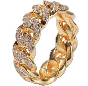 European And American Hip-Hop Zircon Cuban Chain Ring 8mm Full Of Zirconium Plated Real Gold Trend Men's Ring