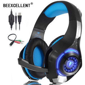 Beexcellent Stereo Gaming Headset for PS4 PC Xbox One Controller Bass Surround LED Light Noise Cancelling Gamer Headphones with Mic for ps4