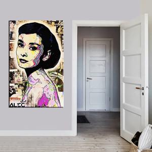 Açık Tuval Wall Art Canvas Resimler Boyama Alec Tekel Graffiti sanatı Ev Dekorasyonu Handpainted HD Baskı Yağ