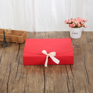 24*19.5*7cm Scarf Clothing Packaging Paper Box with Ribbon Large Capacity Kraft Cardboard Paper Gift Box LX3010