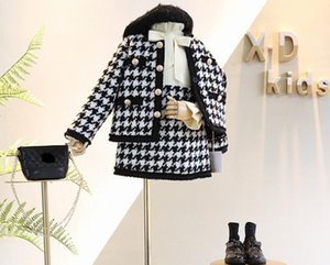 Autumn New Arrival Girls Fashion 2 Pieces Suit Coat+skirt Kids Tweed Sets Girls Clothes. Free shipping