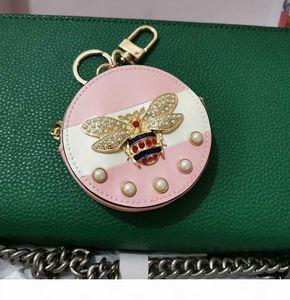 Wallet keychain coin purse Fashion dog key chain leather high Cartoon decoration Keychains cute purse key chains 2020 new style bee cute
