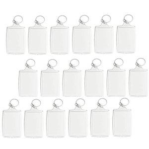 100PCS 사진 키 체인 사각형 투명 빈 아크릴 삽입 사진 액자 열쇠 고리 키 홀더 DIY 분할 링