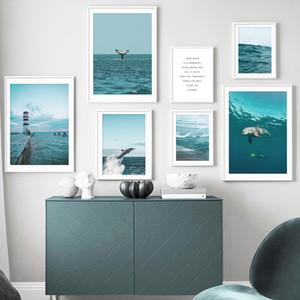 Deniz Feneri Deniz Dalgaları Plaj Dolphin Nordic Posterler Ve Baskılar Duvar Resimleri İçin Salon Dekoru Boyama Wall Art Canvas Alıntılar