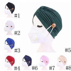Turban Hat Female Pure Hair Band Hat Button Headband Turbante Headwear Sleep Hat Adult Beadana Hendwarp Chemo Towel Hair Accessories DHD124