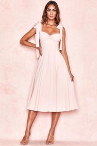 Yeni Moda Bow Spagetti Askı Fit Ve Flare Bandaj Elbise Kadınlar Güzel Pembe Akşam Partisi Yaz Elbise