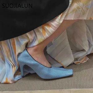 SUOJIALUN 2020 Brand Designer Women Pump Shoes Thin High Heel Sandal High Quality Shallow Dress Shoes Ladies Elegant Pumps