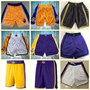 2020LosAngelesLakers basketbol oyuncuları aşınmaMahkeme üzerinde nba şort; İşlemeli basketbol şort ince kumaştan yapılmış