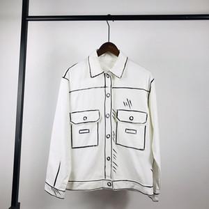 20FW Kaliforniya Sky Serisi Gömlek Ceket Beyaz El Çizimi Basit Çizgiler Moda Erkekler Kadınlar Yüksek Kalite Coat High Street Katı Renk Ceket