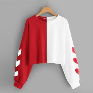 Harajuku Hoodies Sweatshirt Women Autumn Streetwear Heart Color Block Crop Top Hoodie Women Fashion Clothes Moletom