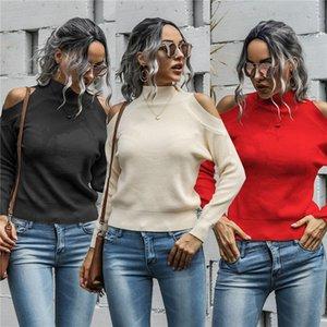 Tasarımcı Knits Yüksek Yaka Uzun Kollu Straples Örme Triko Katı Renk Moda Günlük Kadın Giyim Womens