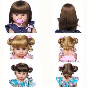 Altın Saç için 48-58cm Reborn Doll Etiketli Uzun Saç Peruk Fits19--23inch Silikon Reborn Bebek Bebekler Curl Saç DIY Doll Aksesuar LJ200827