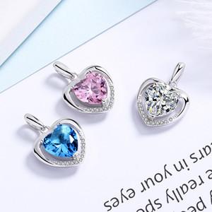 925 Sterling Silver Heart Collants Crystal Charms Rhinestone Forever Heart Charm Colgante para el collar Accesorios de DIY Joyería Sin Cadena