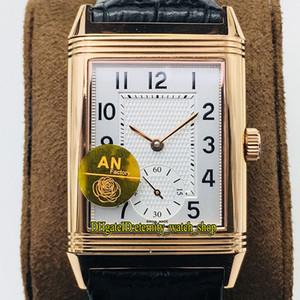 ANF Top-versione flip Reverso su entrambi i lati a doppio fuso orario 3842520 quadrante bianco Cal.854A / 2 meccanico a carica automatica Mens Watch in oro rosa Orologi