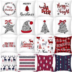 45*45cm Christmas Pillowcase Santa Claus Snowflake Printed Cushion Covers Home Pillow Cover Xmas New Year Sofa Decoration Party Supplies