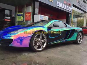 Hoja prima de Blue Rainbow Chrome película del vinilo de la hoja del arco iris deriva Vinilo Bubble Wrap tamaño libre para el coche de embalaje: 1.35 * 18m