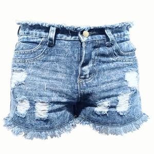 Nouveau Été 2020 Explosion Femmes Trou Denim Shorts Femme Mode Pocket Jeans taille haute shorts sexy