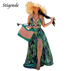 Stigende Kadınlar Bohemian Palm Leaf Maxi Seksi Yüksek Bölünmüş Backless Halter Casual Kolsuz Bandaj Yeşil Uzun Elbise