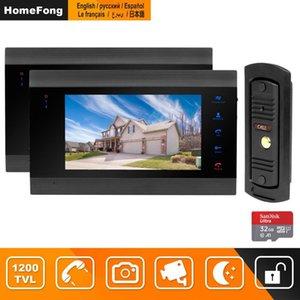 HomeFong проводной видеодомофон для безопасности дома Система видео-телефон двери с 2-монитор 1 дверной звонок камеры Motion Detect запись