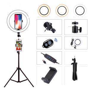 삼각대 전화 홀더와 유튜브 메이크업 셀카를위한 LED 링 라이트 사진 스튜디오 카메라 라이트 사진 디 밍 비디오 표시 등