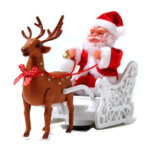 Creative moose sleigh Santa Claus dolls with musical electric car children's toys Christmas decorations