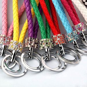 23 Styles Double Loop Rhinestone Crystal Keychain Creative new Key Chains Purse Messenger Bag Backpack Pendant Party Gifts HH9-3238