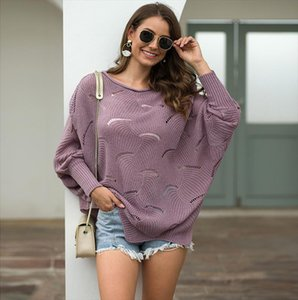 Sweater Woman Hollow Out Knitting Pullover Loose Casual O Neck Large Size Pullover Abrigos Mujer Invierno 2019 Ez*