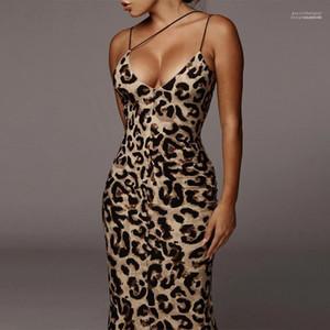 Rivestite sexy abiti delle signore di estate leopardo aderente Abiti Serpentine cinghia di spaghetti Womens Party Magro Moda vestiti dal fodero femminili