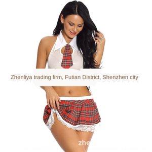 Frauen-Plaid-Rock Top-Pyjamas Pyjama Anzug und weise kleine Krawatte Perspektive Top + Plaidrock Student Uniform Versuchung Vc4VJ Spitze