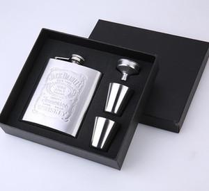 Карманные винные бутылки набор с Wine Glass Воронка Настраиваемый фляжка Открытый Портативный нержавеющей стали 7oz фляжка Set AHA2350