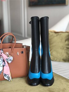 In the autumn and winter of 2020, womens calf leather boots, color matching round head high heel half boots