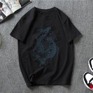 T-shirt carpas Koi escuro Hip-Hop Camisetas Mulheres Roupa 100% Algodão Mens Plus Size Desgaste da rua Top Men Tees