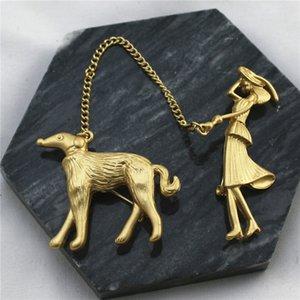Qingdao alaşım alaşım Qingdao kadın -plated mat altın antika kadın ve köpek broş mat altın kadınlar uclJ7