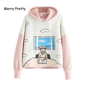 MERRY PRETTY Плюс бархатные толстовки зимние длинный рукав толстовки флис бренд Harajuku мультфильм печати