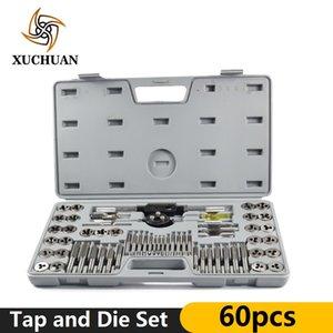 60pcs Tap et Die Set métriques et fil Imperial Tap Die Wrench Kit Outils Tapping main à vis Perceuse Set