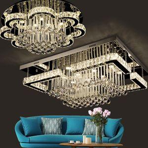 Luces de techo LED moderna rectangular araña de cristal luz de cristal K9 del Hotel Villa Salón Comedor del restaurante
