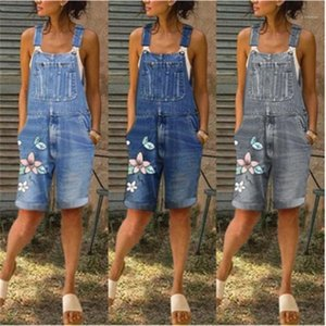Verão bolso de Slim Casual Shorts Jumpsuit Mulheres Printing macacãozinho Fashion Trend mangas soltas Sling Demin Jumpsuit Designer Feminino