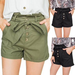 Casual High Waisted Buttons Drawstring Bow Shorts Women Office Short Short Feminino Summer Clothes Pantalones Cortos Mujer 1#