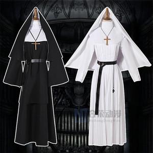 1qu1Y Helong anime das Gespenst coswear Halloween seltsame Robe Lange Cartoon Nonne Cosplay NUN Priester Cosplay weiß er