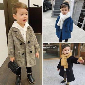 Bebé de las muchachas de la chaqueta de lana largo doble de pecho caliente infantil Toddle la solapa del abrigo de tweed de primavera otoño invierno bebé Outwear la ropa LJ200826