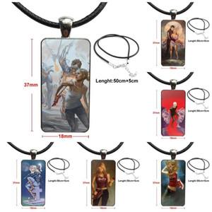 Para la joyería muchachas de las mujeres hechas a mano de cristal colgante Gargantilla cabujón rectangular collar de acero color bonito Buffy La Cazavampiros