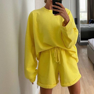Womens Tracksuits 2 Piece Set Summmer Autumn Loose Sweatshirt + Sporting Shorts Sweat Set Two Piece Outfit Solid Color Sets