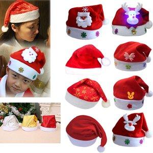 Chapéu de Natal LED Decorações de Natal Ordinária Luminous dos desenhos animados Chapéu do Natal de Papai Noel adulto e criança Xmas DHE1326 chapéu
