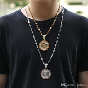 Personality Iced No Photographic Signs Pendant With Cuban chain Gold Silver Color Bling Cubic Zircon Men's Hip hop Necklace Jewelry For Gift