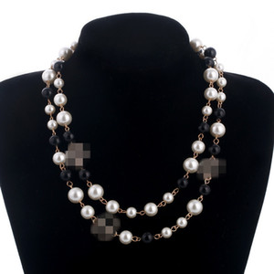 2020 joyería de la perla natural collar único de la manera de las mujeres del suéter del collar de múltiples capas de diamantes colgantes del collar de importación de Crystal Broche nupcial