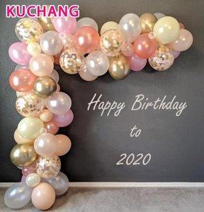 42pcs / lot Rose Gold-Ballon-Bogen-Set der weißen Latex-Garland-Ballone Geburtstags-Bachelorette Hochzeit Kulisse Baby Shower Party Decor