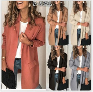 Women Coat Casual Soft Jacket Fake Pocket Blazer Long Sleeve Overcoat Suit Jackets Autumn Winter Coats Solid Color Outwear Apparel AAF1848