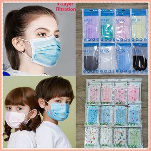 8 couleurs masque de visage 10pcs emballage individuel noir 3 couches masque jetable non tissé Masque de protection Bouche adulte Kid Kid Forfait vente en gros