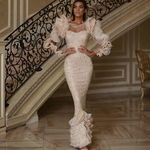 2021 plume gaine robes de soirée Jewel cou perles Paillettes robe de bal à manches longues à volants longueur de plancher Parti Tiers Formal Robes